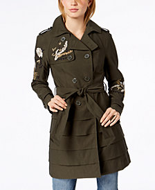 I.N.C. Embroidered Trench Coat, Created for Macy's