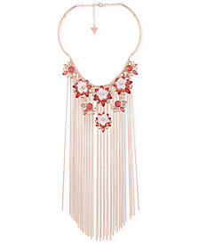 "GUESS Rose Gold-Tone Flower & Chain Fringe Statement Necklace, 15"" + 3"" extender"