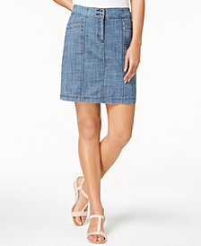 Karen Scott Petite Denim Skort, Created for Macy's