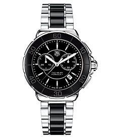 TAG Heuer Women's Chronograph Black Ceramic and Stainless Steel Bracelet Watch 41mm CAH1210.BA0862