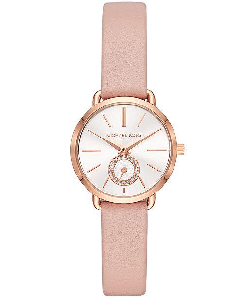 b5ad68212e24 Michael Kors Women s Petite Portia Blush Leather Strap Watch 28mm ...