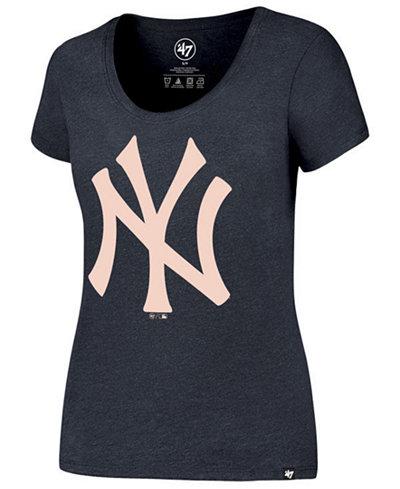 '47 Brand Women's New York Yankees Club Scoop Pink Logo T-Shirt