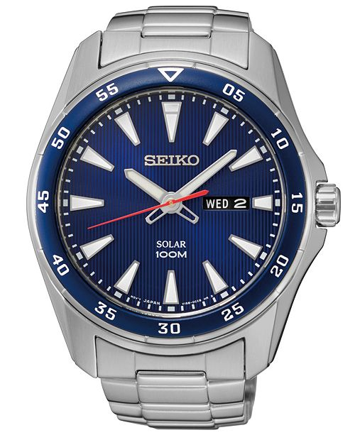 Seiko Men's Solar Sport Stainless Steel Bracelet Watch 43mm