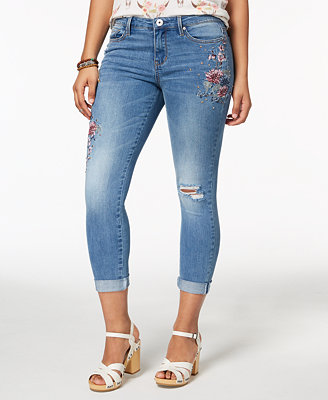 Juniors' Embroidered Skinny Jeans by Vanilla Star