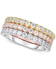 3-Pc. Set Tri-Tone Swarovski Zirconia Stacking Bands