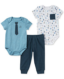 Calvin Klein 3-Pc. Printed Bodysuits & Pants Set, Baby Boys