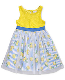 Sweet Heart Rose Lemon-Print Crochet Dress, Baby Girls