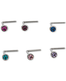 I.N.C. Stainless Steel 6-Pc. Set Colored Crystal Nose Studs, Created for Macy's