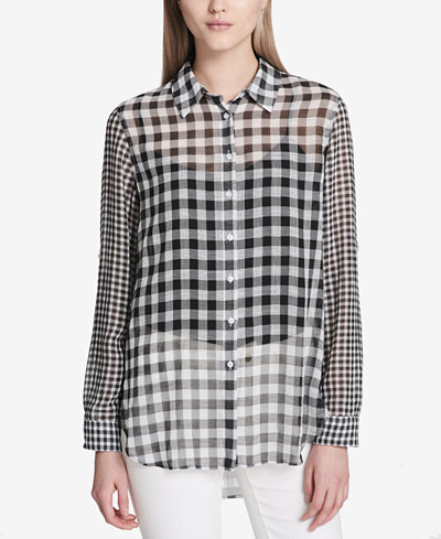 Calvin Klein Semi-Sheer Gingham Blouse
