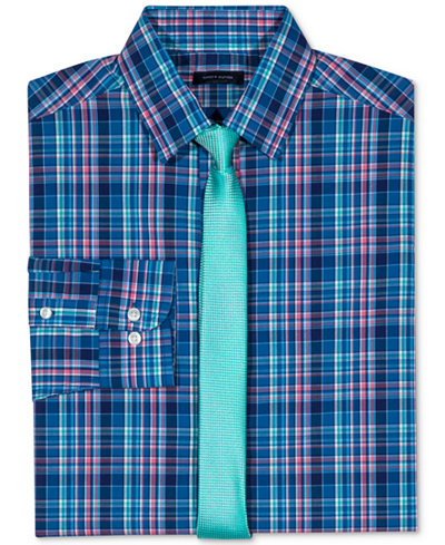 Tommy Hilfiger Stretch Plaid Long Sleeve Shirt & Necktie, Big Boys