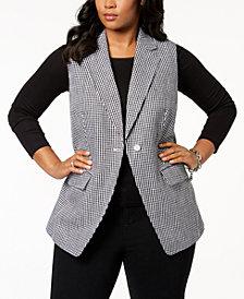 MICHAEL Michael Kors Plus Size Gingham-Print Vest