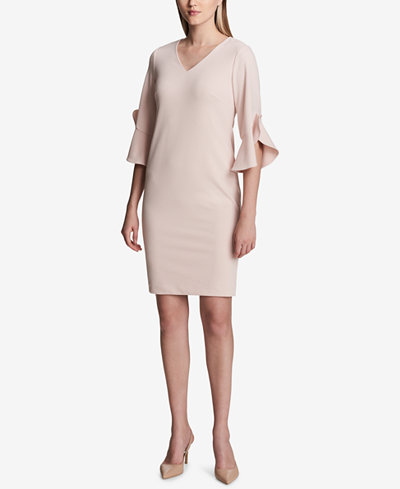 Calvin Klein V-Neck 3/4-Sleeve Sheath Dress