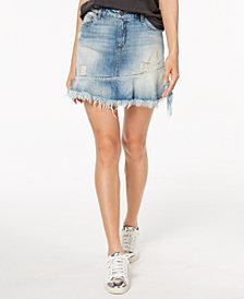 STS Blue Cotton Frayed Ruffle-Hem Denim Mini Skirt