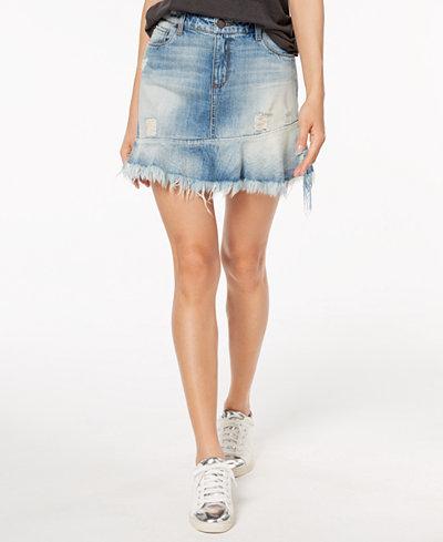 STS Blue Cotton Frayed Ruffle-Hem Denim Mini Skirt
