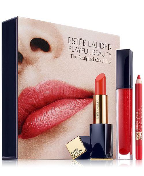 5ee1c38f4409d Estée Lauder 3-Pc. Playful Beauty Sculpted Coral Lip Set   Reviews ...
