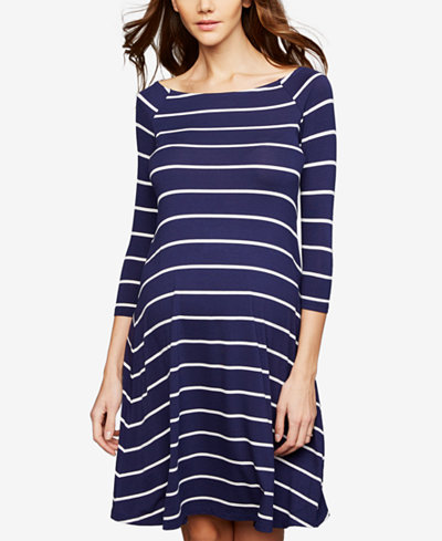 A Pea In The Pod Maternity Striped A-Line Dress