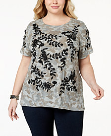 I.N.C. Plus Size Embroidered Camo-Print T-Shirt, Created for Macy's