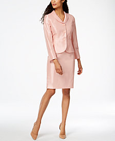 Le Suit Shimmer Three-Button Skirt Suit