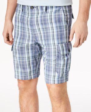 "Men'S Marina Bay Plaid 10"" Cargo Shorts, Vintage Indigo"