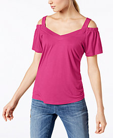 I.N.C. Petite Cold-Shoulder Jersey Top, Created for Macy's