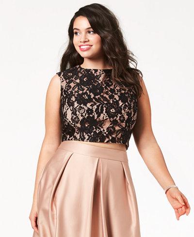 City Chic Trendy Plus Size Lace Crop Top