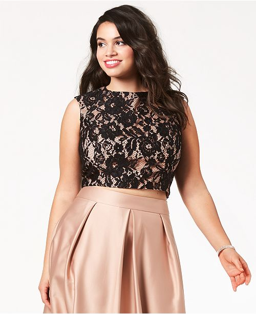 City Chic Trendy Plus Size Lace Crop Top & Reviews - Dresses - Plus ...