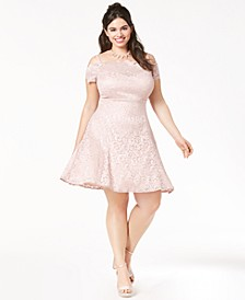 Trendy Plus Size Lace Fit & Flare Dress