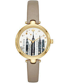 kate spade new york Women's Holland Gray Leather Strap Watch 34mm