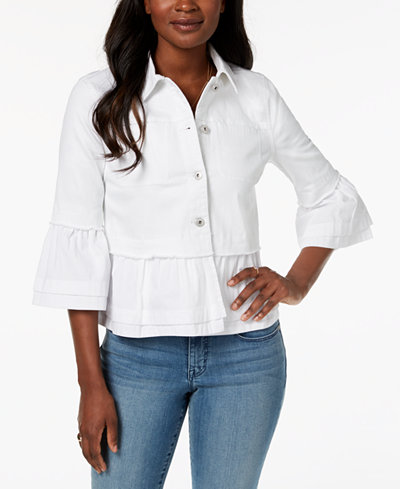 Style & Co Petite Tiered-Hem Denim Jacket, Created for Macy's