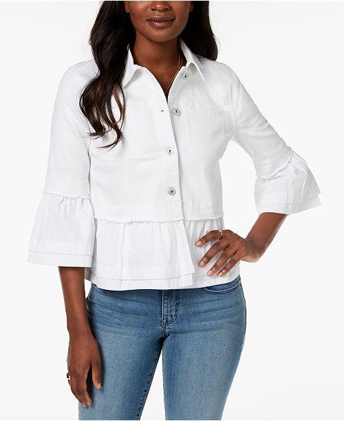 Petite Tiered-Hem Denim Jacket, Created for Macy's