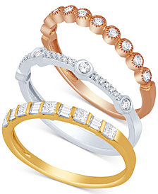 Tri-Color 3-Pc. Set Stackable Bands (5/8 ct. t.w.)