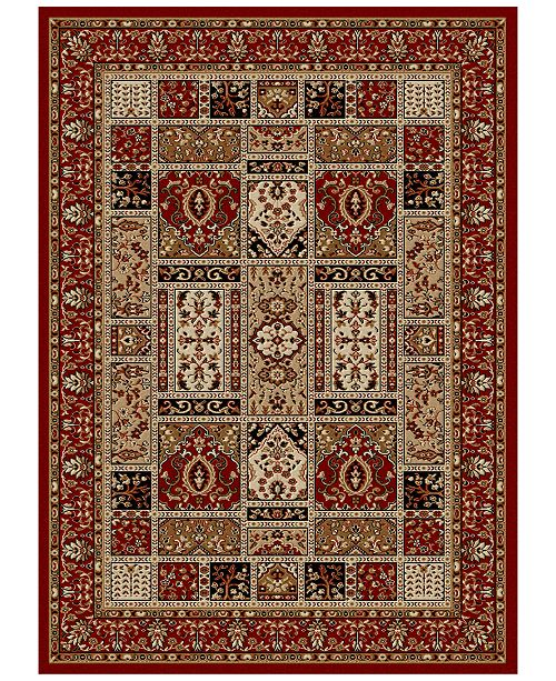 "KM Home CLOSEOUT! Pesaro Panel Red 2'2"" x 7'7"" Runner Area Rug"