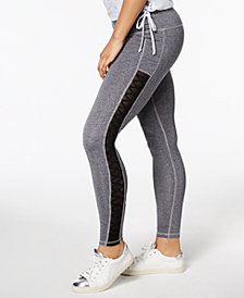 Material Girl Active Juniors' Mesh-Inset Leggings, Created for Macy's