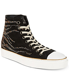 Roberto Cavalli Men's Studded Suede High-Top Sneakers