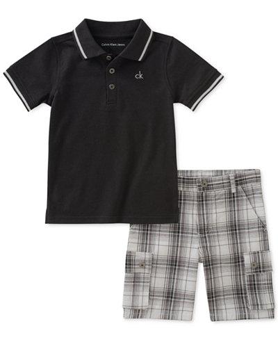 Calvin Klein 2-Pc. Printed Polo & Shorts Set, Little Boys
