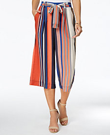 John Paul Richard Petite Striped Wide-Leg Cropped Pants
