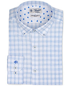 Original Penguin Men's Heritage Slim-Fit Stretch Light Blue Check Dress Shirt
