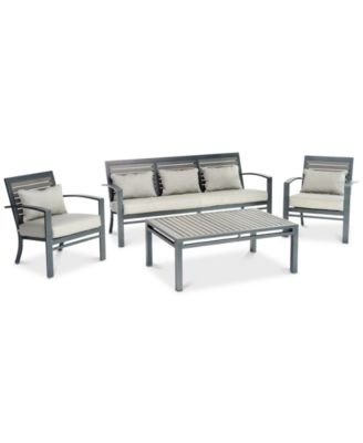 Marlough II  Aluminum Outdoor 4-Pc. Seating Set (1 Sofa, 2 Club Chairs, & 1 Coffee Table) with Sunbrella® Cushions, Created for Macy's