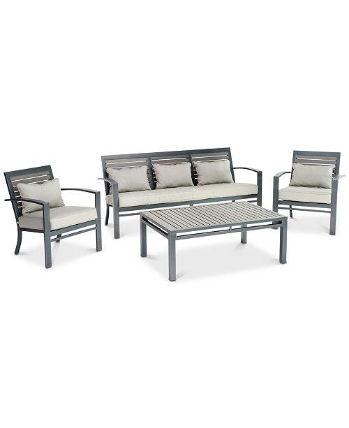 Furniture Marlough Ii Aluminum Outdoor 4 Pc Seating Set 1 Sofa 2