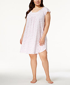 Miss Elaine Plus Size Floral-Print Ruffled-Neckline Nightgown