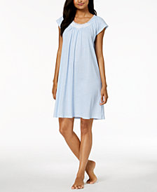 Miss Elaine Embroidered-Rose Knit Nightgown