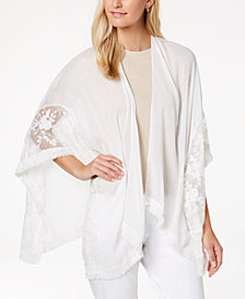 I.N.C. Embroidered Fringe Cape, Created for Macy's