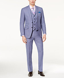 Tallia Orange Men's Modern-Fit Light Blue Birdseye Vested Suit