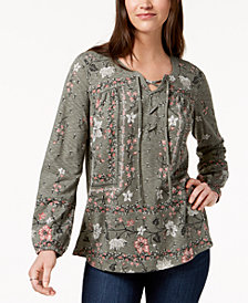 Style & Co Petite Lace-Up Top, Created for Macy's