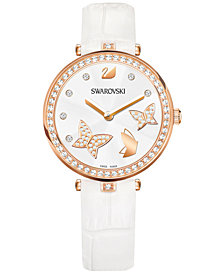 Swarovski Women's Swiss Aila Dressy Lady Butterfly White Leather Strap Watch 34mm