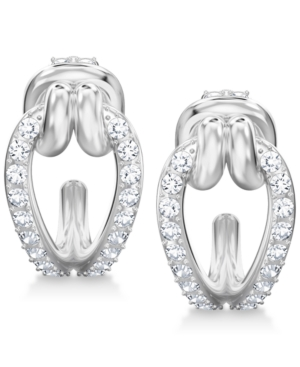 Swarovski  SILVER-TONE CRYSTAL KNOT DROP HOOP EARRINGS