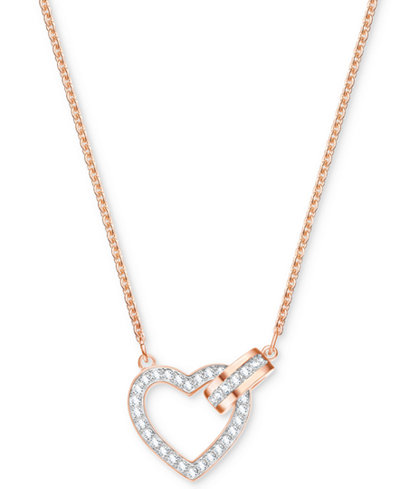 Swarovski Rose Gold-Tone Crystal Interlocking Heart & Circle 16-1/2