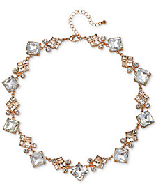 "Jewel Badgley Mischka Rose Gold-Tone Crystal Collar Necklace, 15"" + 3"" extender"