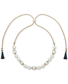 "Ivanka Trump Gold-Tone Imitation Pearl & Blue Tassel 36"" Slider Necklace"
