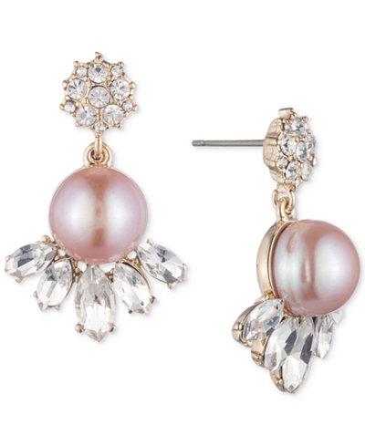 Carolee Gold-Tone Crystal & Pink Imitation Pearl Drop Earrings